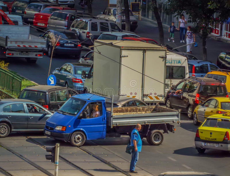 Bucharest morning traffic blockage. Picture with bucharest morning traffic blockage aerial view from drone royalty free stock images