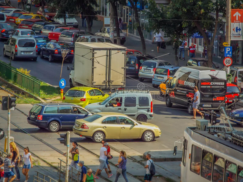 Bucharest morning traffic blockage. Picture with bucharest morning traffic blockage aerial view from drone stock photography