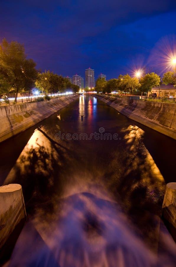 Bucharest by night - Dambovita River royalty free stock image