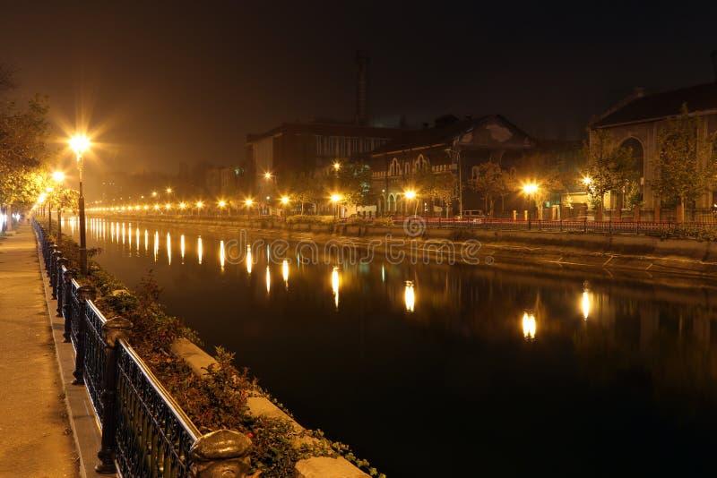 Travel Romania: Bucharest Dambovita river night royalty free stock photos