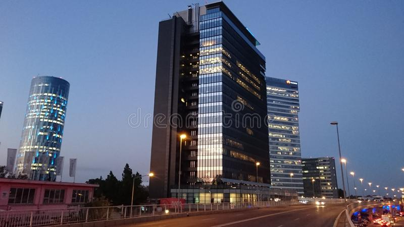 Bucharest by night - office buildings in Pipera district stock photos