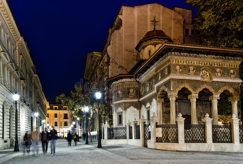 Bucharest night. Night on a pedestrian street in the old center of Bucharest stock image