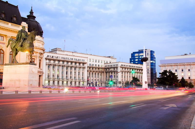 Bucharest by night - Revolution Square. Revolution Square is the place where in December 1989, the Communist regime of Romania was toppled by a popular revolt royalty free stock photography