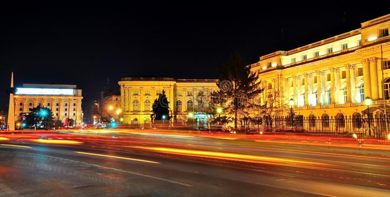 Bucharest Romania. The old Royal Palace, actually National Art Museum, Victory Avenue and Revolution Square from Bucharest, Romania stock photo