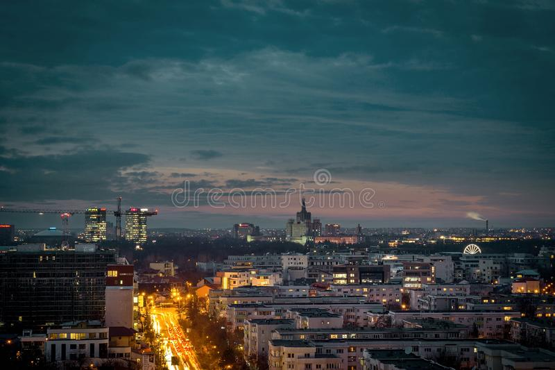 Bucharest at night royalty free stock photo