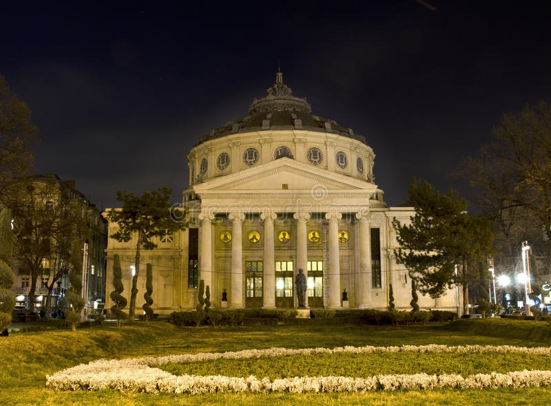 Romanian Atheneum Nightscene stock photos