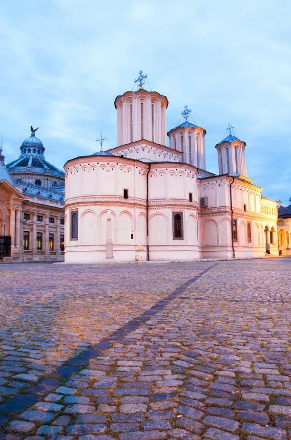 Bucharest noc - Patriarchalna Katedra obraz stock
