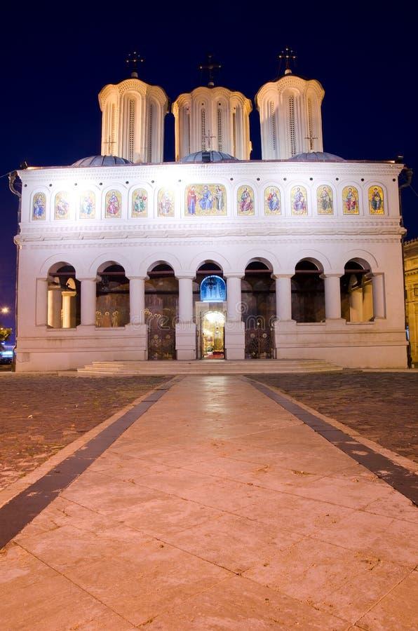 Bucharest noc - Patriarchalna Katedra zdjęcia stock