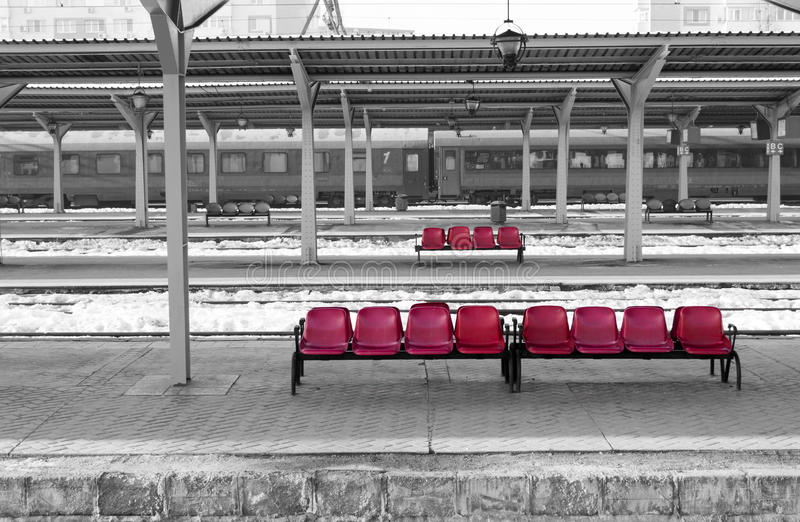 Bucharest North Railway Station & x28;landscape, panoramic, selective color isolation view& x29; stock photo