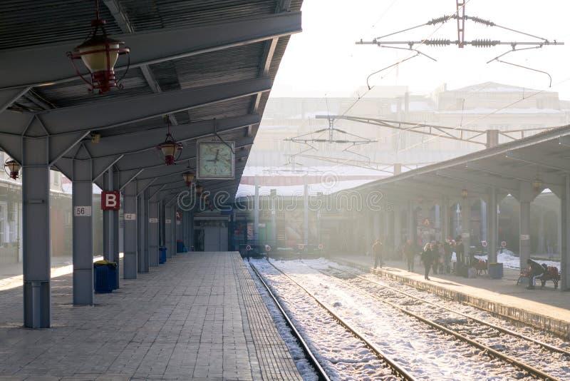 Bucharest North Railway Station platforms stock photo