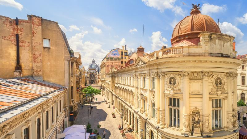 Bucharest Old Town - Romania. Bucharest Old Town at a beautiful sunny summer day - Romania stock photo