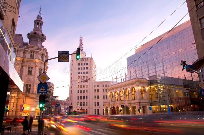 Bucharest på solnedgången royaltyfria foton