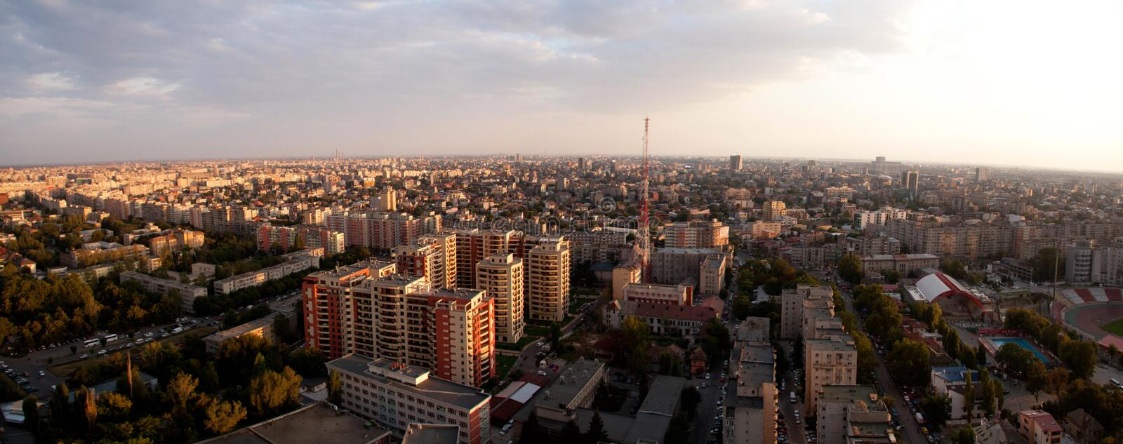 Bucharest panoramic sunset view royalty free stock image