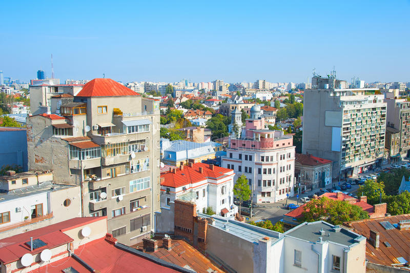 Bucharest pejzaż miejski, Rumunia obrazy royalty free