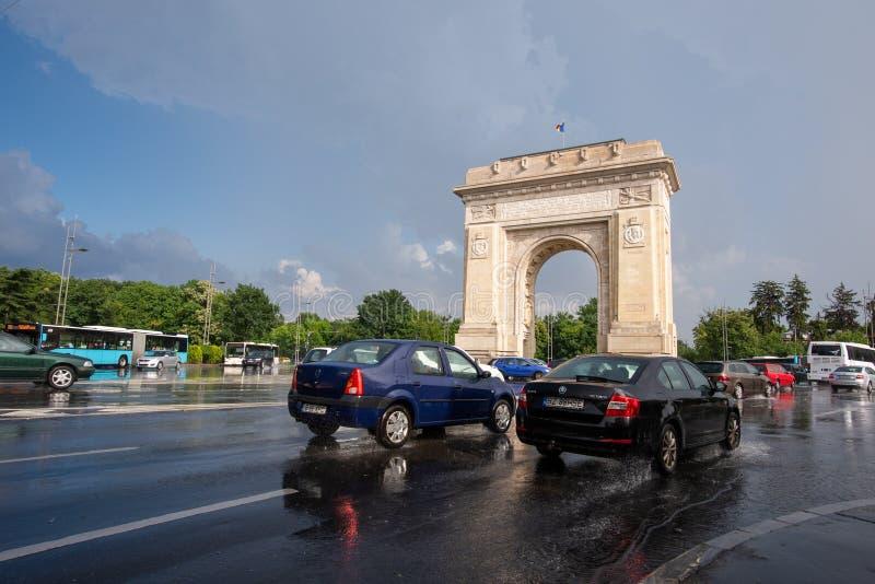 Bucharest po ulewnego deszczu i burzy, Bucharest miasto po ulewnego deszczu podczas lato czasu fotografia stock