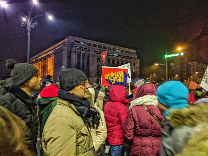 Bucharest protesta Stycznia 2017 piata victoriei obrazy stock