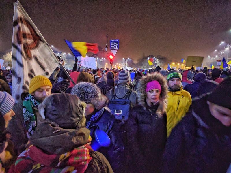 Bucharest protesta Stycznia 2017 piata victoriei zdjęcie stock