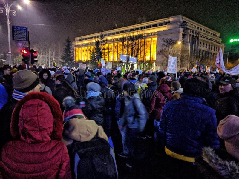 Bucharest protesta Stycznia 2017 piata victoriei obraz stock