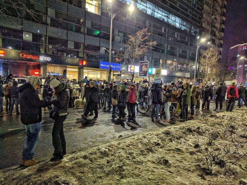 Bucharest protesta Stycznia 2017 piata victoriei zdjęcia stock