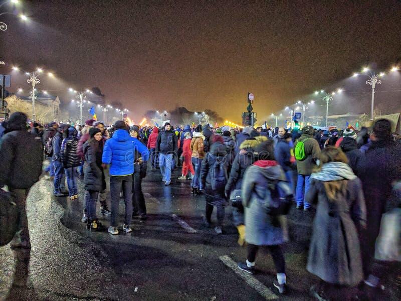 Bucharest protesta Stycznia 2017 piata victoriei obraz royalty free
