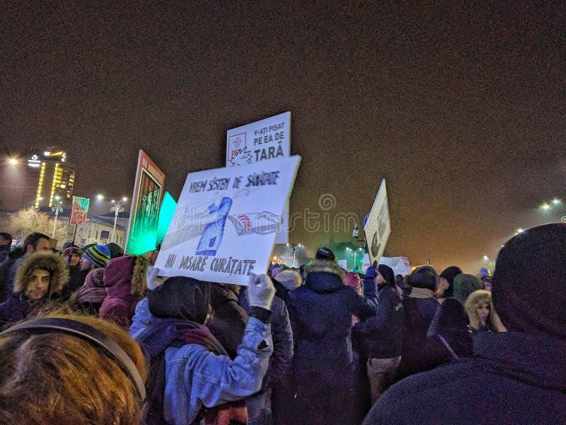 Bucharest protesta Stycznia 2017 piata victoriei fotografia royalty free