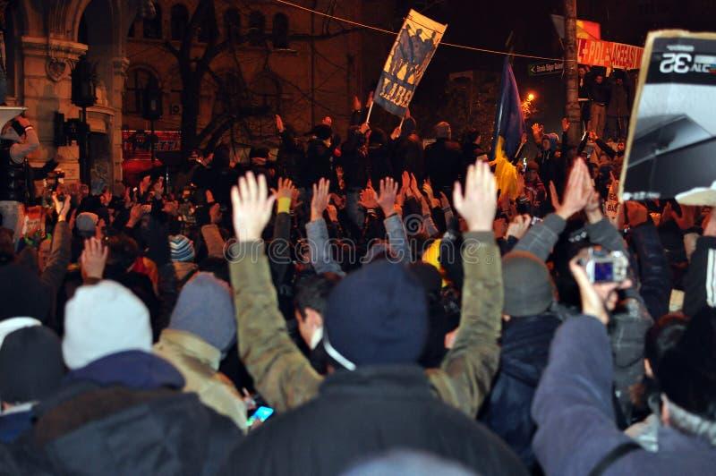 Bucharest Protester - 19 Januari 2012 - 4 Redaktionell Bild