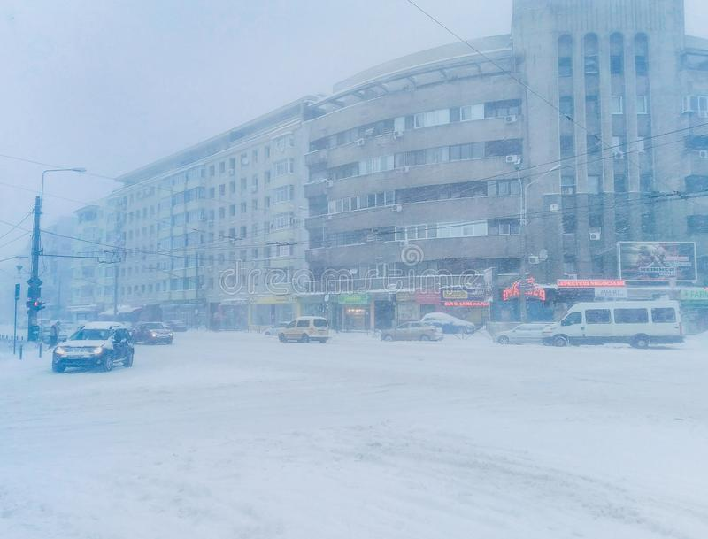 Bucharest roads in winter time stock images
