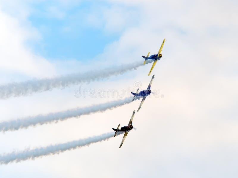`AeroNautic Show 2018` at Lacul Morii, Bucuresti, Romania - Performance from team `Iacarii acrobati` on Yakovlev Yak-52. Bucharest, Romania - 9/15/2018: ` royalty free stock photography