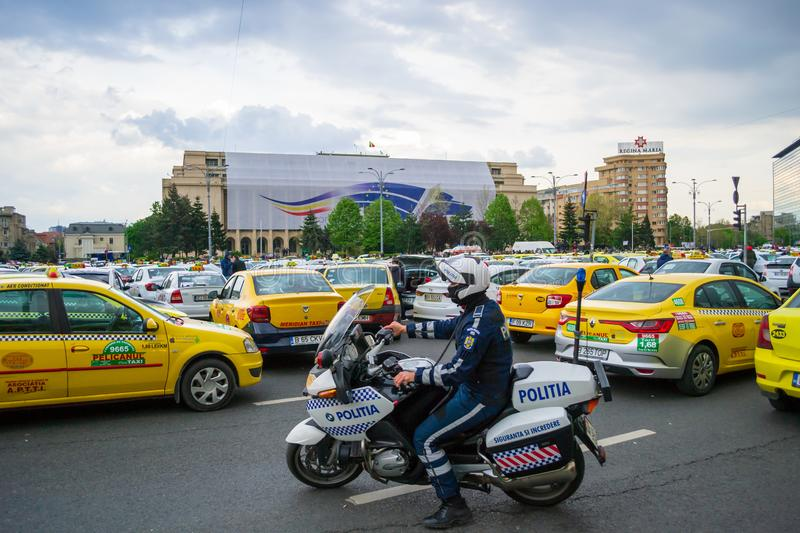 Taxi drivers protesting against ridesharing companies Uber, Bolt formerly Taxify, in Bucharest, Romania royalty free stock photography