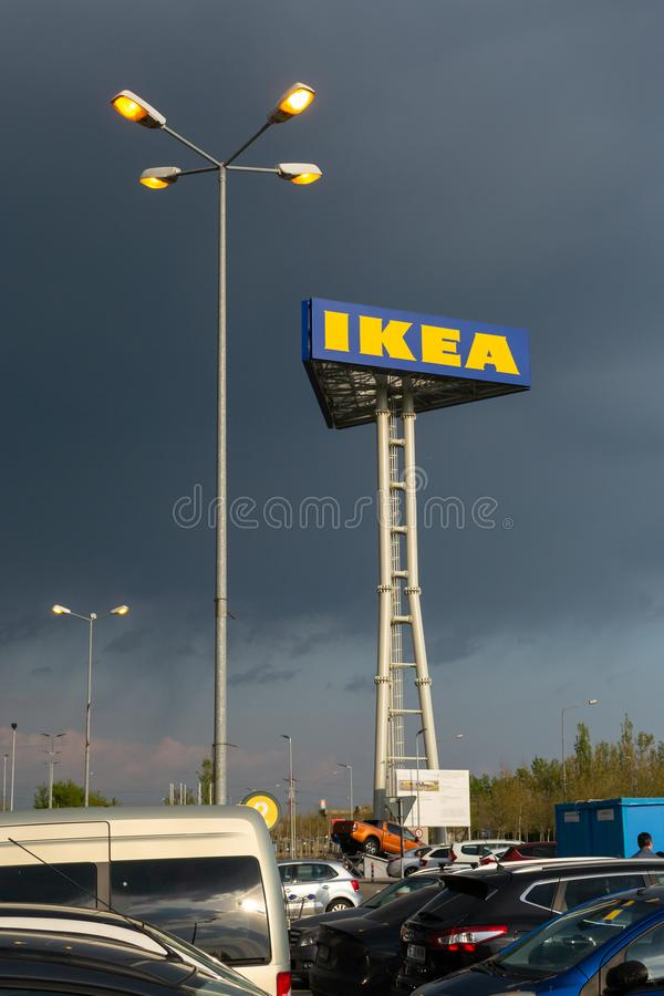 Vertical post with the IKEA sign on the Theodor Pallady street, Bucuresti, Romania. royalty free stock photos