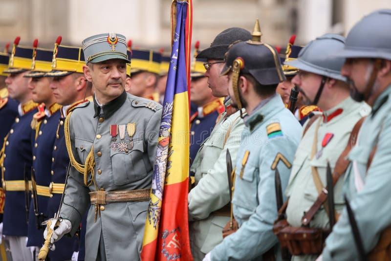 WWI reenactors take part at military ceremony. Bucharest, Romania - April 7, 2019: WWI reenactors take part at military ceremony royalty free stock photography