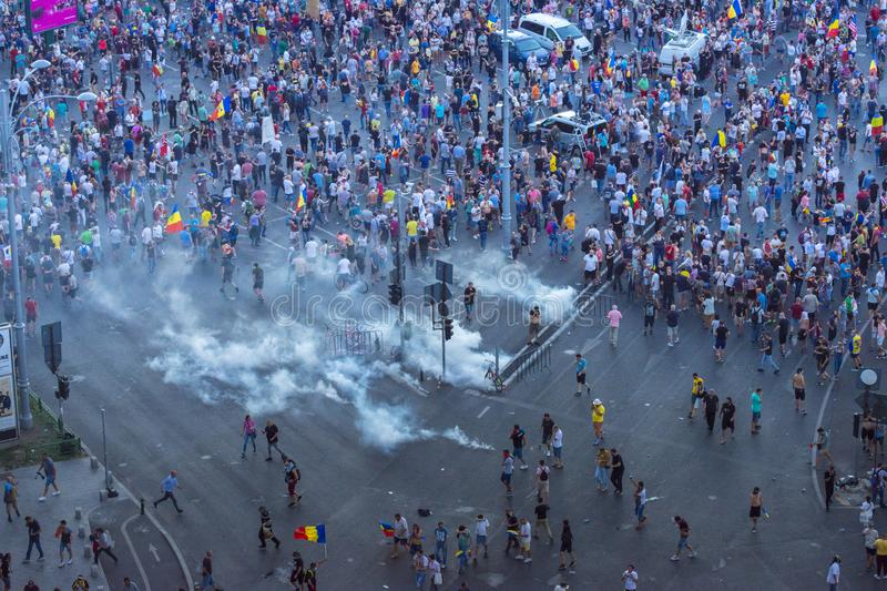 Diaspora protest in Bucharest against the government. BUCHAREST, ROMANIA - August 10 2018 Thousands of Romanians living abroad have come to the country these stock images