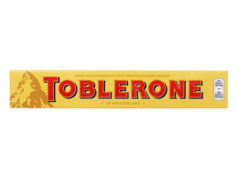 Toblerone Swiss Milk Chocolate with Honey and Almond Nougat. BUCHAREST, ROMANIA - AUGUST 27, 2017. Toblerone Swiss Milk Chocolate with Honey and Almond Nougat stock images