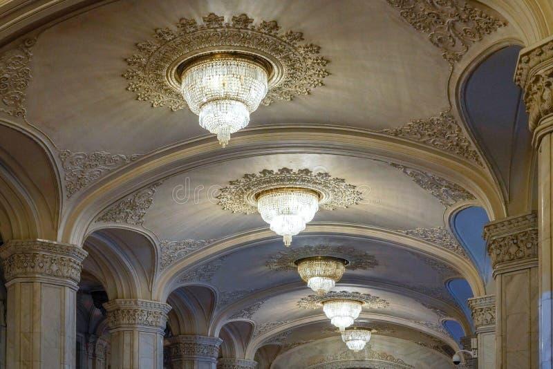 BUCHAREST/ROMANIA - 21 DE SETEMBRO: Vista interior do palácio o imagens de stock royalty free
