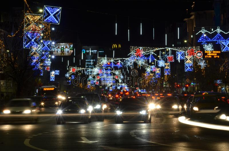 Festive winter holidays lights in Bucharest stock photos