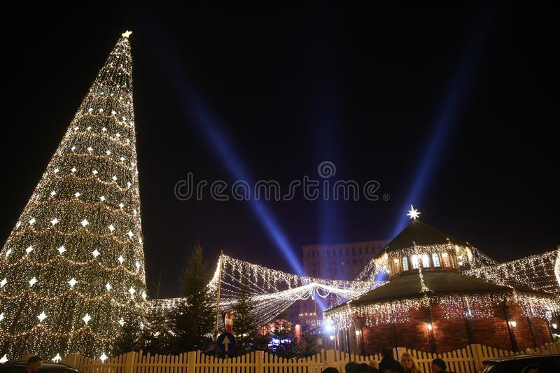 Bucharest Christmas Lights. Bucharest, Romania - December 09, 2017: Nightscene in Bucharest center when the Christmas lights and decorations are on stock images