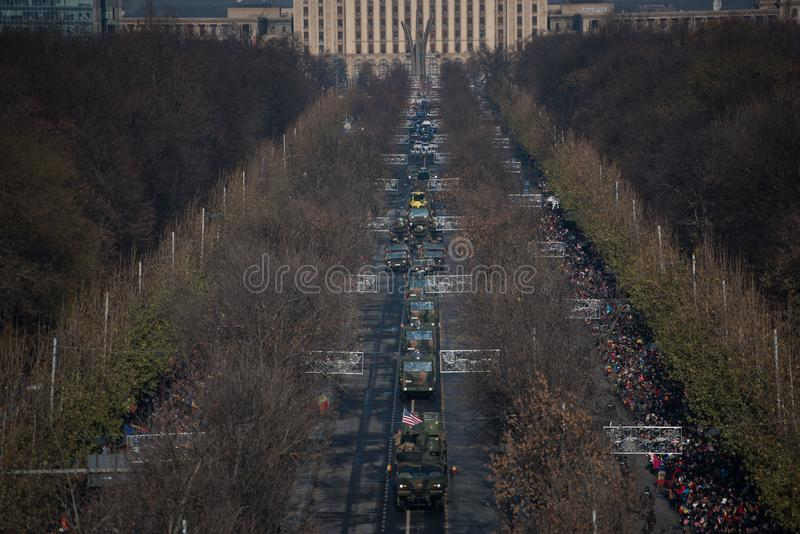 Military parade celebrating Romania`s National Day royalty free stock images