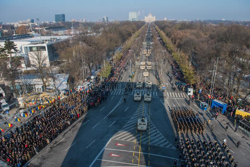 Military parade celebrating Romania`s National Day stock photo