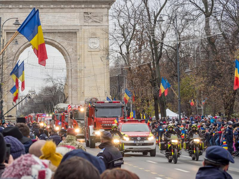 Bucharest, Romania, December 1st 2019: Romania National Day military parade  in Bucharest near Arcul de Triumf royalty free stock photo