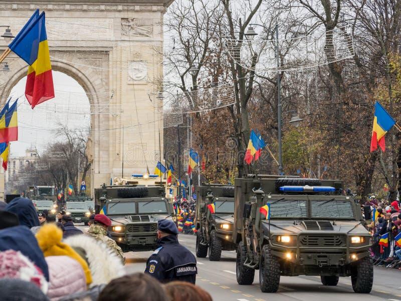 Bucharest, Romania, December 1st 2019: Romania National Day military parade  in Bucharest near Arcul de Triumf stock photography