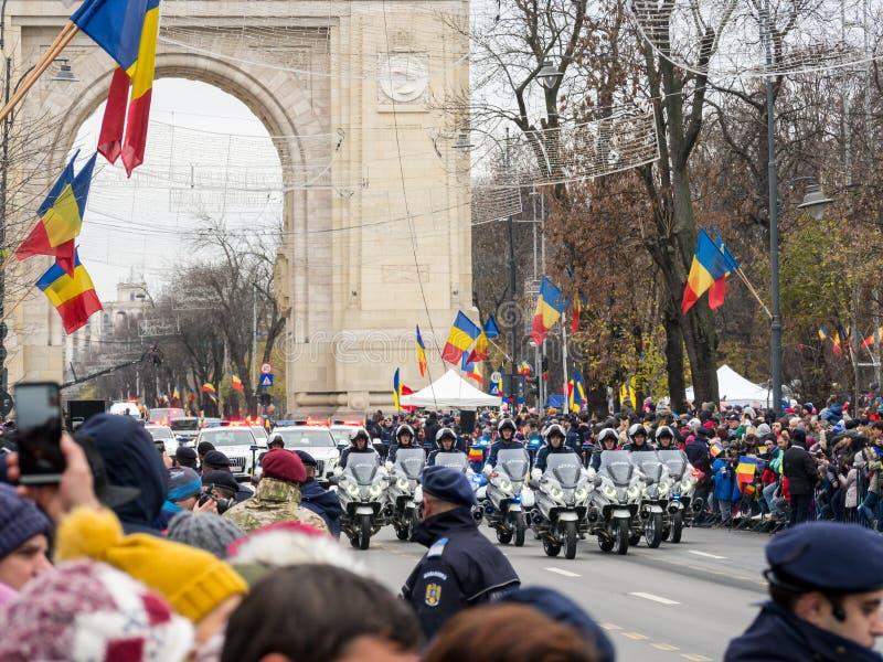 Bucharest, Romania, December 1st 2019: Romania National Day military parade  in Bucharest near Arcul de Triumf stock image