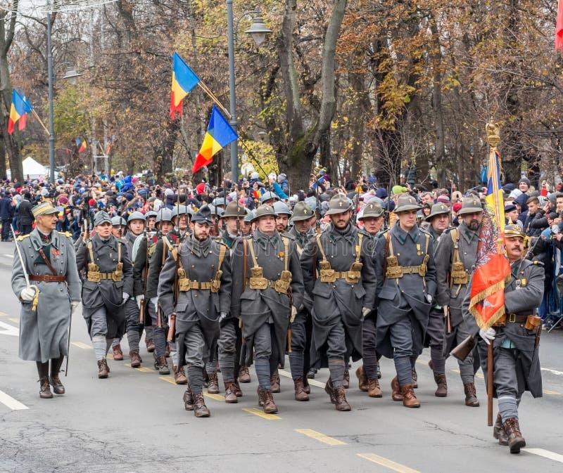 Bucharest, Romania, December 1st 2019: Romania National Day military parade  in Bucharest near Arcul de Triumf stock photo