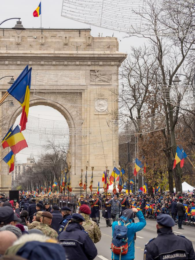 Bucharest, Romania, December 1st 2019: Romania National Day military parade  in Bucharest near Arcul de Triumf royalty free stock images