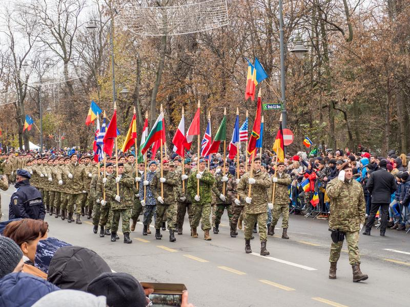 Bucharest, Romania, December 1st 2019: Romania National Day military parade  in Bucharest near Arcul de Triumf royalty free stock photography