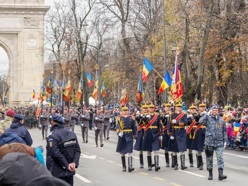 Bucharest, Romania, December 1st 2019: Romania National Day military parade  in Bucharest near Arcul de Triumf royalty free stock image