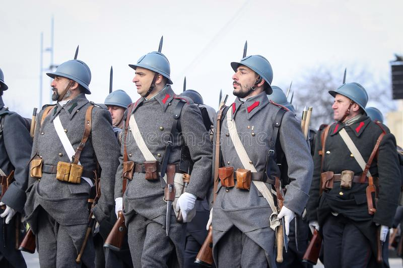 WWI reenactors. Bucharest, Romania - December 1, 2018: WWI reenactors take part at the Romanian National Day military parade stock photography
