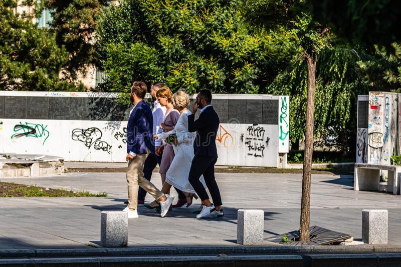 Bucharest, Romania - 2019. Group of people walking and visiting Bucharest downtown area.  royalty free stock image