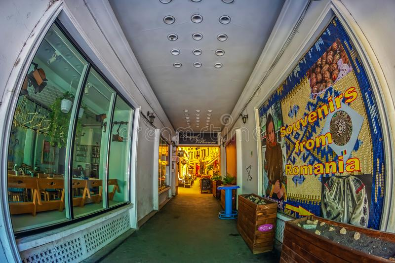 Entrance of the passage Macca-Villacrosse, Bucharest, Romania royalty free stock images