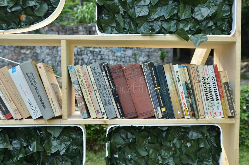 Bookshelf with books in park royalty free stock photos