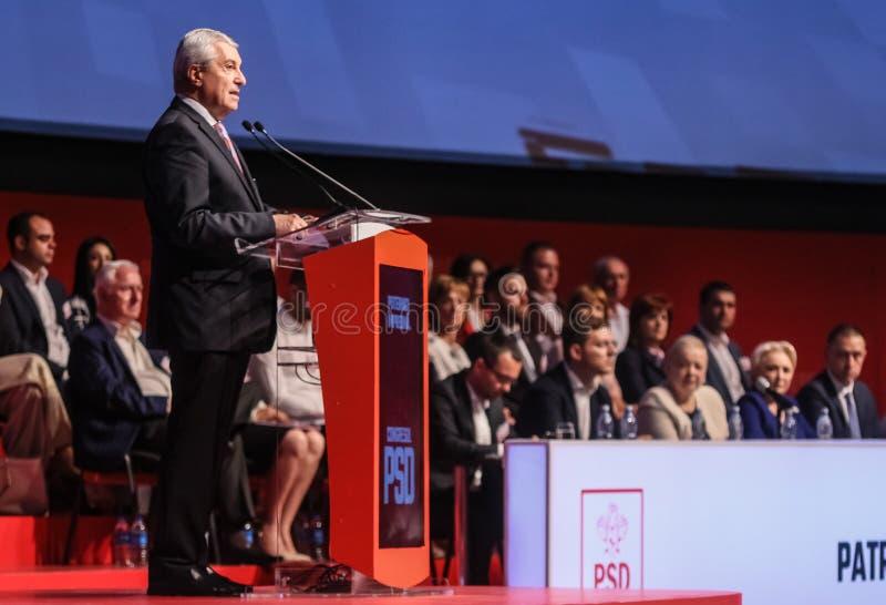 Romania politics - Social Democratic Party congress. Bucharest, Romania - June 29, 2019: Calin Popescu Tariceanu, leader of Liberal Democrat Alliance ALDE stock photos